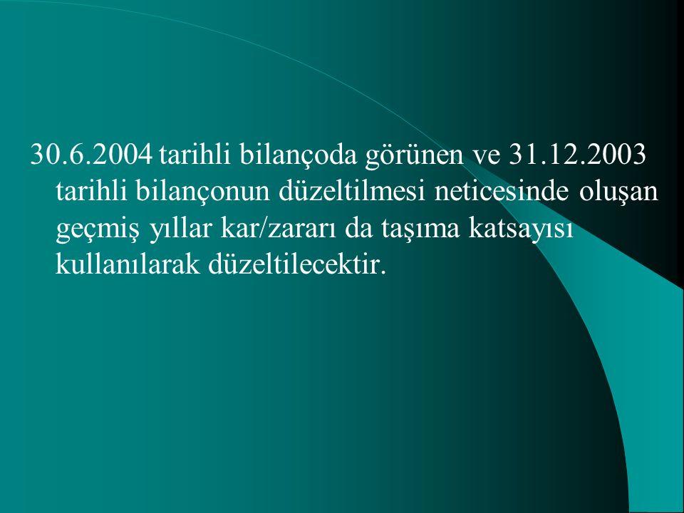 30.6.2004 tarihli bilançoda görünen ve 31.12.2003 tarihli bilançonun düzeltilmesi neticesinde oluşan geçmiş yıllar kar/zararı da taşıma katsayısı kull