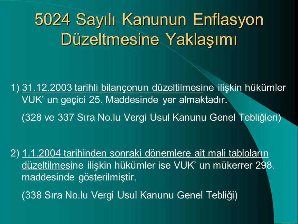 5024 Sayılı Kanunun Enflasyon Düzeltmesine Yaklaşımı 1) 31.12.2003 tarihli bilançonun düzeltilmesine ilişkin hükümler VUK' un geçici 25. Maddesinde ye
