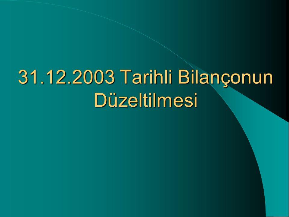 31.12.2003 Tarihli Bilançonun Düzeltilmesi