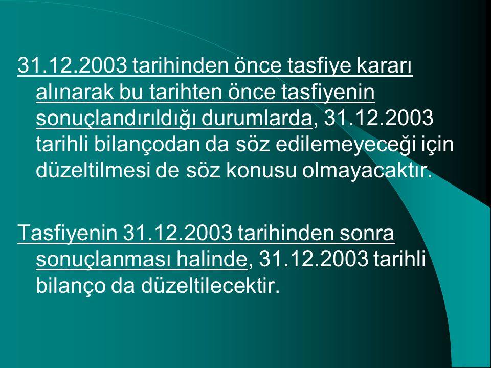 31.12.2003 tarihinden önce tasfiye kararı alınarak bu tarihten önce tasfiyenin sonuçlandırıldığı durumlarda, 31.12.2003 tarihli bilançodan da söz edil