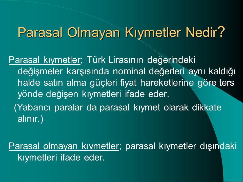 Parasal Olmayan Kıymetler Nedir ? Parasal kıymetler; Türk Lirasının değerindeki değişmeler karşısında nominal değerleri aynı kaldığı halde satın alma