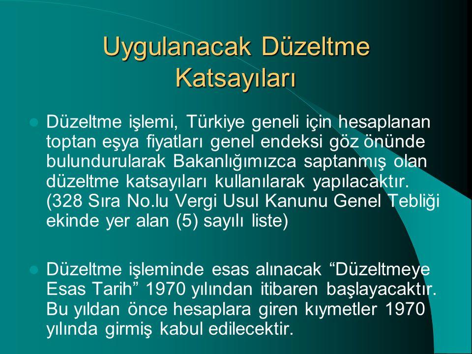 Uygulanacak Düzeltme Katsayıları Düzeltme işlemi, Türkiye geneli için hesaplanan toptan eşya fiyatları genel endeksi göz önünde bulundurularak Bakanlı