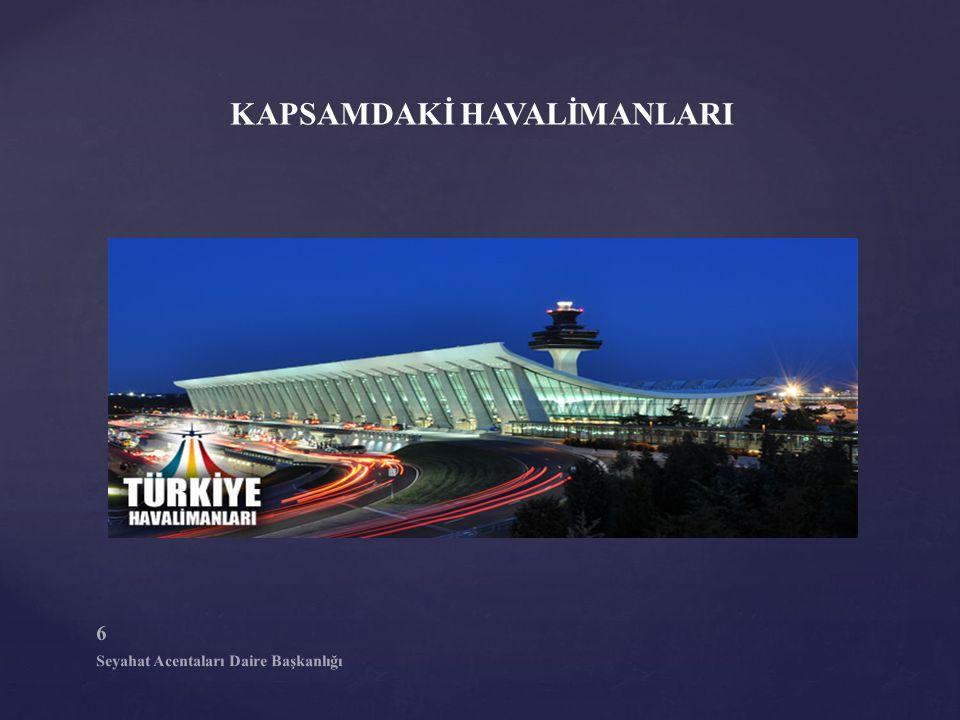 7 Seyahat Acentaları Daire Başkanlığı KAPSAMDAKİ HAVALİMANLARI TARİFELİ VE TARİFESİZ UÇUŞLAR Antalya Gazipaşa-Alanya Antalya Muğla Dalaman Muğla Milas-Bodrum
