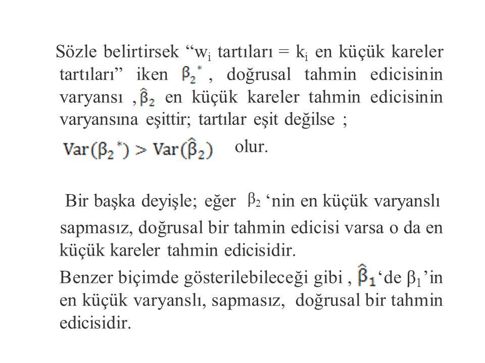 (3) denkleminin son terimi sabit olduğundan nin varyansı ilk terimle oynayarak en düşüğe indirgenebilir.
