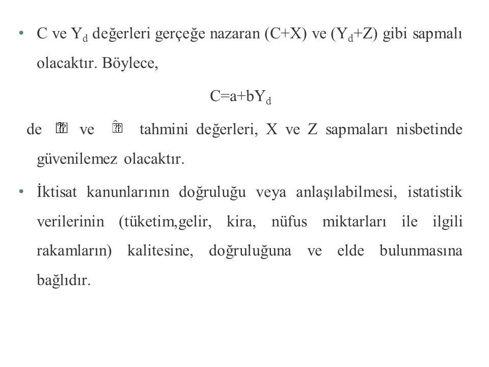 C ve Y d değerleri gerçeğe nazaran (C+X) ve (Y d +Z) gibi sapmalı olacaktır.