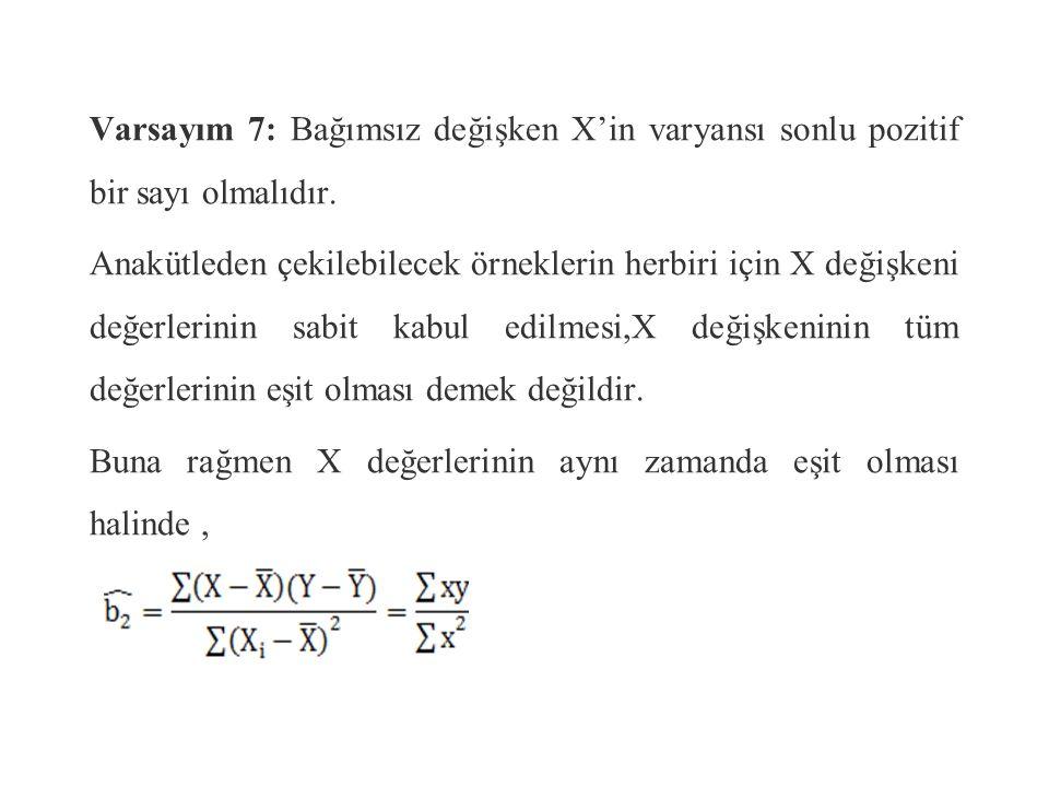 Kov(u i, X i )= E[u i (X i – E(X i )] = E[u i X i – u i E(X i )] X i 'ler sabit kabul edilirse, E[E(X i )]=E(X i ) Kov(u i, X i )= E(u i X i )– E(u i )E(X i ) Varsayım 1' e göre E(u i )=0'dır.