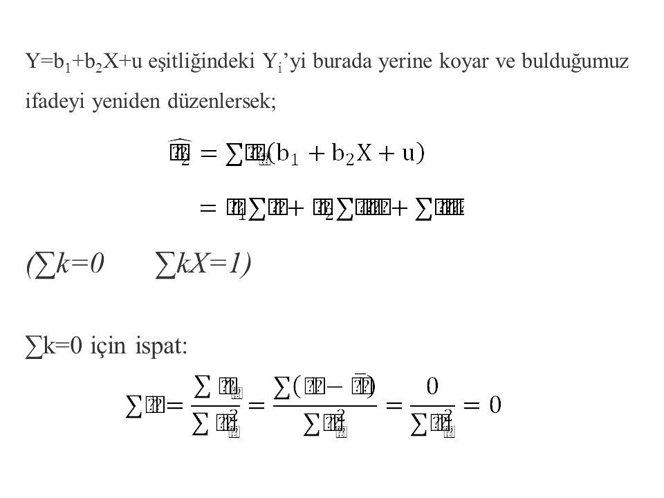 olduğundan, Varsayım gereği x değerleri sabittir.