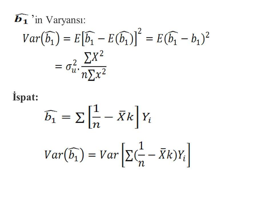 n,k ve x ortalamanın örnekten örneğe sabit kaldığını düşünürsek ve ide yerine koyarsak; Y=b 1 +b 2 X'