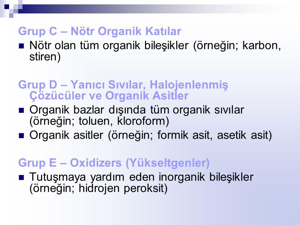 Grup C – Nötr Organik Katılar Nötr olan tüm organik bileşikler (örneğin; karbon, stiren) Grup D – Yanıcı Sıvılar, Halojenlenmiş Çözücüler ve Organik Asitler Organik bazlar dışında tüm organik sıvılar (örneğin; toluen, kloroform) Organik asitler (örneğin; formik asit, asetik asit) Grup E – Oxidizers (Yükseltgenler) Tutuşmaya yardım eden inorganik bileşikler (örneğin; hidrojen peroksit)