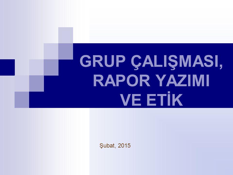 GRUP ÇALIŞMASI, RAPOR YAZIMI VE ETİK Şubat, 2015
