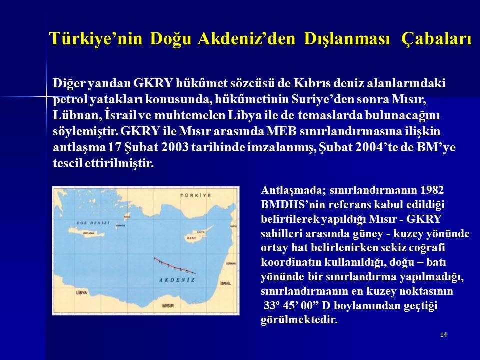 14 Türkiye'nin Doğu Akdeniz'den Dışlanması Çabaları Diğer yandan GKRY hükûmet sözcüsü de Kıbrıs deniz alanlarındaki petrol yatakları konusunda, hükûmetinin Suriye'den sonra Mısır, Lübnan, İsrail ve muhtemelen Libya ile de temaslarda bulunacağını söylemiştir.
