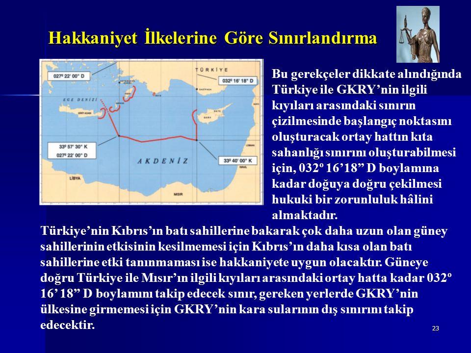 23 Hakkaniyet İlkelerine Göre Sınırlandırma Türkiye'nin Kıbrıs'ın batı sahillerine bakarak çok daha uzun olan güney sahillerinin etkisinin kesilmemesi için Kıbrıs'ın daha kısa olan batı sahillerine etki tanınmaması ise hakkaniyete uygun olacaktır.