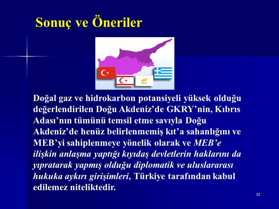 32 Sonuç ve Öneriler Doğal gaz ve hidrokarbon potansiyeli yüksek olduğu değerlendirilen Doğu Akdeniz'de GKRY'nin, Kıbrıs Adası'nın tümünü temsil etme savıyla Doğu Akdeniz'de henüz belirlenmemiş kıt'a sahanlığını ve MEB'yi sahiplenmeye yönelik olarak ve MEB'e ilişkin anlaşma yaptığı kıyıdaş devletlerin haklarını da yıpratarak yapmış olduğu diplomatik ve uluslararası hukuka aykırı girişimleri, Türkiye tarafından kabul edilemez niteliktedir.