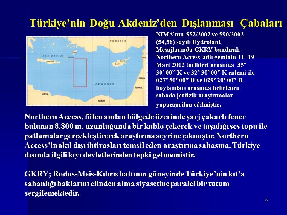 9 GKRY bu bağlamda, Kıbrıs'ın kıt'a sahanlığı sınırlandırmasını Türkiye'yi dışlayarak kendi çıkarları doğrultusunda adeta oldu- bittiye getirmeye çalışmaktadır.