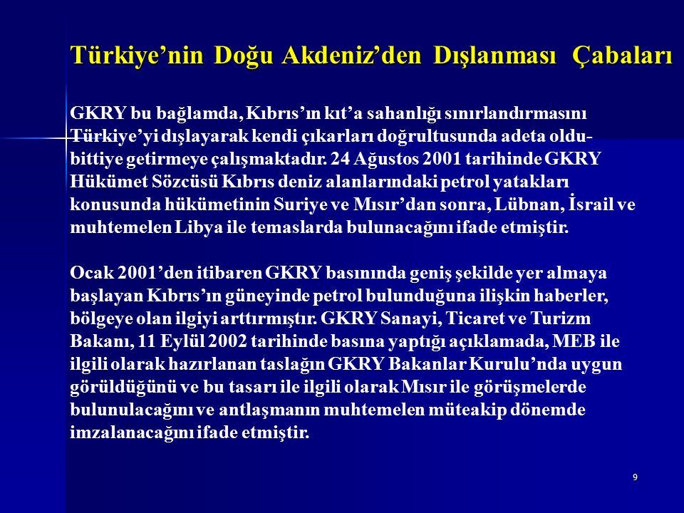 30 Türkiye ve KKTC'nin Politika ve Uygulamaları 17 Şubat 2003 tarihli GKRY - Mısır MEB Sınırlandırması Antlaşması'nın imzalanmasının hemen ardından KKTC Dışişleri Bakanı, 24 Şubat 2003'te, makamında Mısır'ın Lefkoşa Büyükelçisi ile görüşerek yapılan antlaşmayı tanımadıklarını resmen bildirmiştir.
