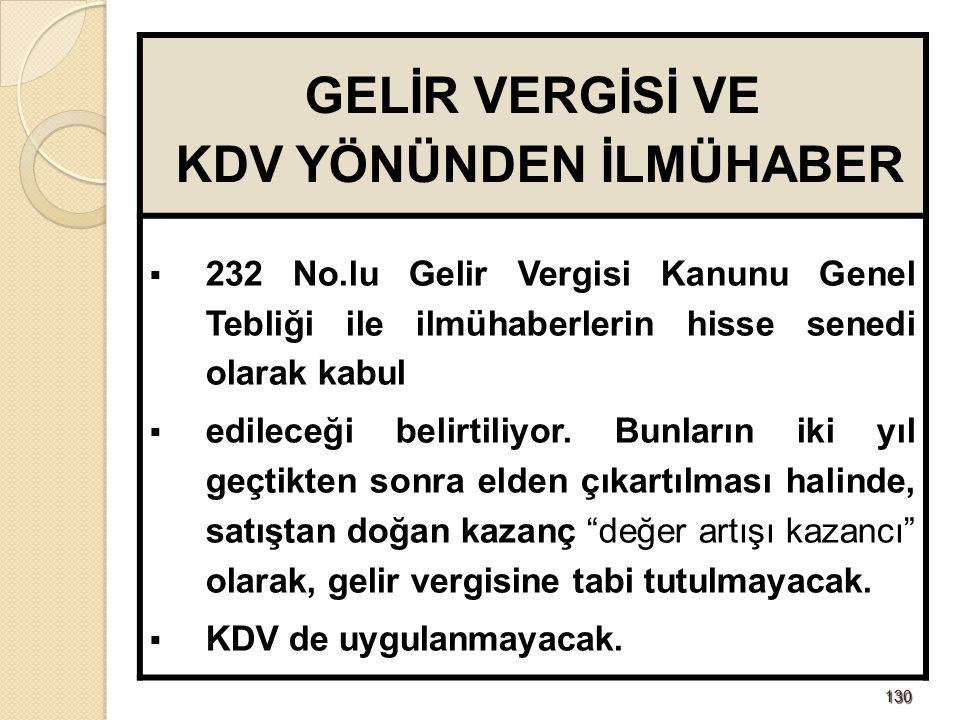 130130 GELİR VERGİSİ VE KDV YÖNÜNDEN İLMÜHABER  232 No.lu Gelir Vergisi Kanunu Genel Tebliği ile ilmühaberlerin hisse senedi olarak kabul  edileceği belirtiliyor.
