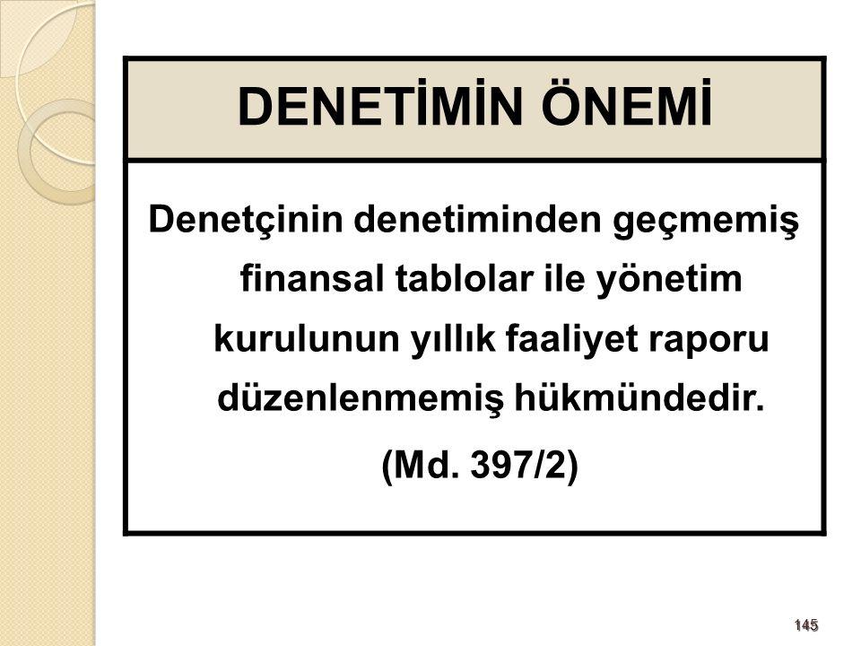 145145 DENETİMİN ÖNEMİ Denetçinin denetiminden geçmemiş finansal tablolar ile yönetim kurulunun yıllık faaliyet raporu düzenlenmemiş hükmündedir.