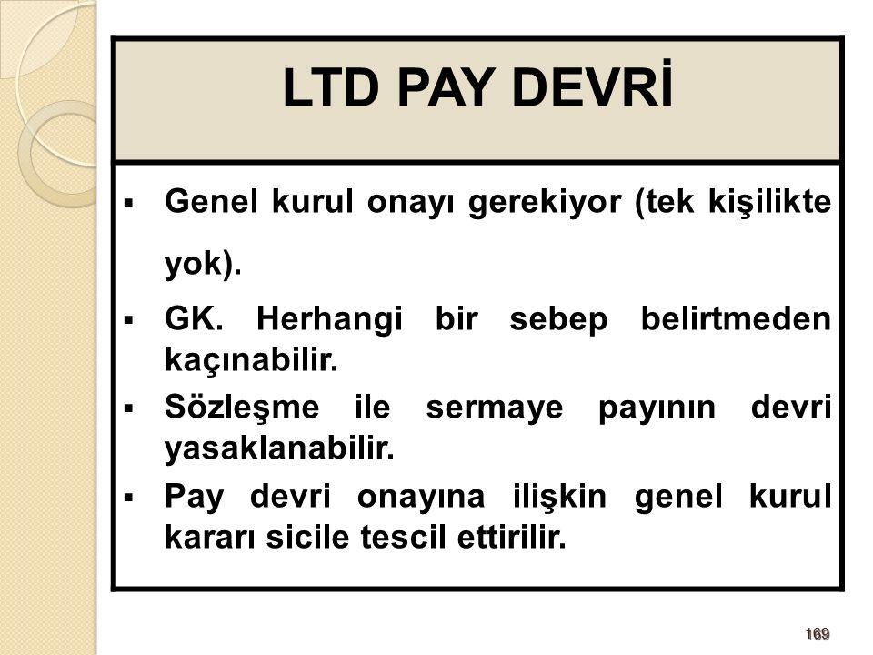 169169 LTD PAY DEVRİ  Genel kurul onayı gerekiyor (tek kişilikte yok).