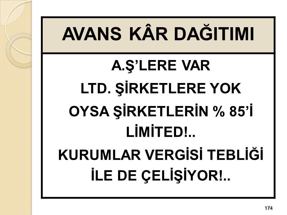 174174 AVANS KÂR DAĞITIMI A.Ş'LERE VAR LTD. ŞİRKETLERE YOK OYSA ŞİRKETLERİN % 85'İ LİMİTED!..