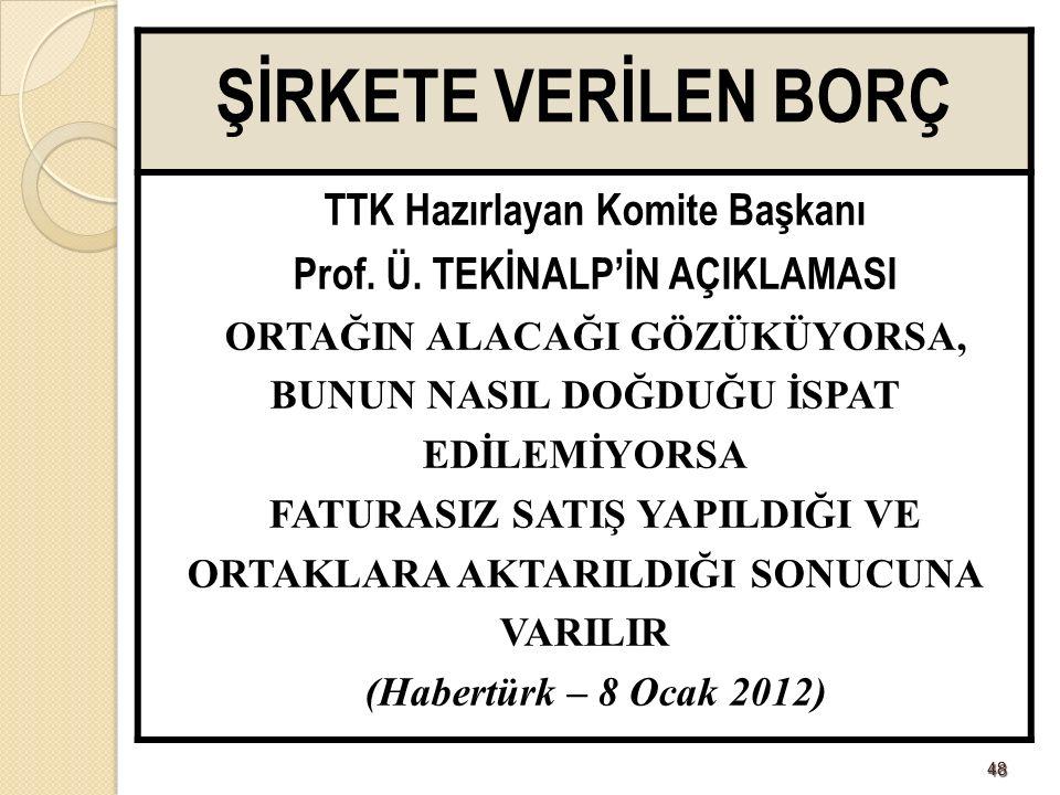 4848 ŞİRKETE VERİLEN BORÇ TTK Hazırlayan Komite Başkanı Prof.
