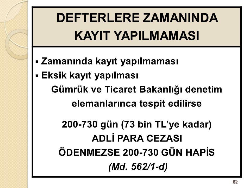 6262 DEFTERLERE ZAMANINDA KAYIT YAPILMAMASI  Zamanında kayıt yapılmaması  Eksik kayıt yapılması Gümrük ve Ticaret Bakanlığı denetim elemanlarınca tespit edilirse 200-730 gün (73 bin TL'ye kadar) ADLİ PARA CEZASI ÖDENMEZSE 200-730 GÜN HAPİS (Md.