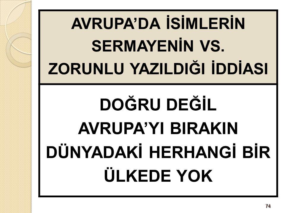 7474 AVRUPA'DA İSİMLERİN SERMAYENİN VS.