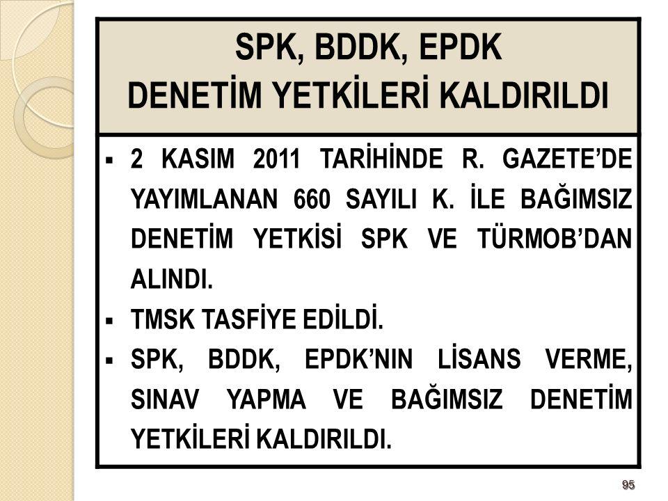 9595 SPK, BDDK, EPDK DENETİM YETKİLERİ KALDIRILDI  2 KASIM 2011 TARİHİNDE R.