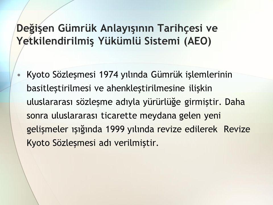 Değişen Gümrük Anlayışının Tarihçesi ve Yetkilendirilmiş Yükümlü Sistemi (AEO) Kyoto Sözleşmesi 1974 yılında Gümrük işlemlerinin basitleştirilmesi ve ahenkleştirilmesine ilişkin uluslararası sözleşme adıyla yürürlüğe girmiştir.
