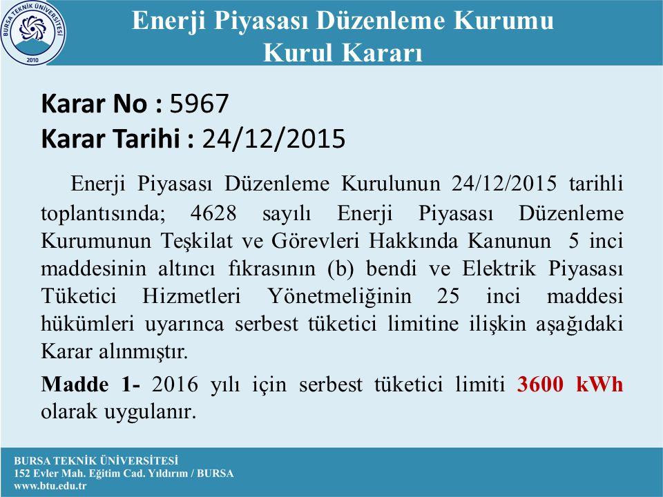 Enerji Piyasası Düzenleme Kurumu Kurul Kararı Karar No : 5967 Karar Tarihi : 24/12/2015 Enerji Piyasası Düzenleme Kurulunun 24/12/2015 tarihli toplantısında; 4628 sayılı Enerji Piyasası Düzenleme Kurumunun Teşkilat ve Görevleri Hakkında Kanunun 5 inci maddesinin altıncı fıkrasının (b) bendi ve Elektrik Piyasası Tüketici Hizmetleri Yönetmeliğinin 25 inci maddesi hükümleri uyarınca serbest tüketici limitine ilişkin aşağıdaki Karar alınmıştır.