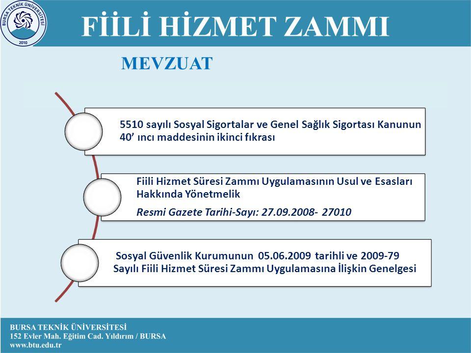 FİİLİ HİZMET ZAMMI 5510 sayılı Sosyal Sigortalar ve Genel Sağlık Sigortası Kanunun 40' ıncı maddesinin ikinci fıkrası Fiili Hizmet Süresi Zammı Uygulamasının Usul ve Esasları Hakkında Yönetmelik Resmi Gazete Tarihi-Sayı: 27.09.2008- 27010 Sosyal Güvenlik Kurumunun 05.06.2009 tarihli ve 2009-79 Sayılı Fiili Hizmet Süresi Zammı Uygulamasına İlişkin Genelgesi MEVZUAT