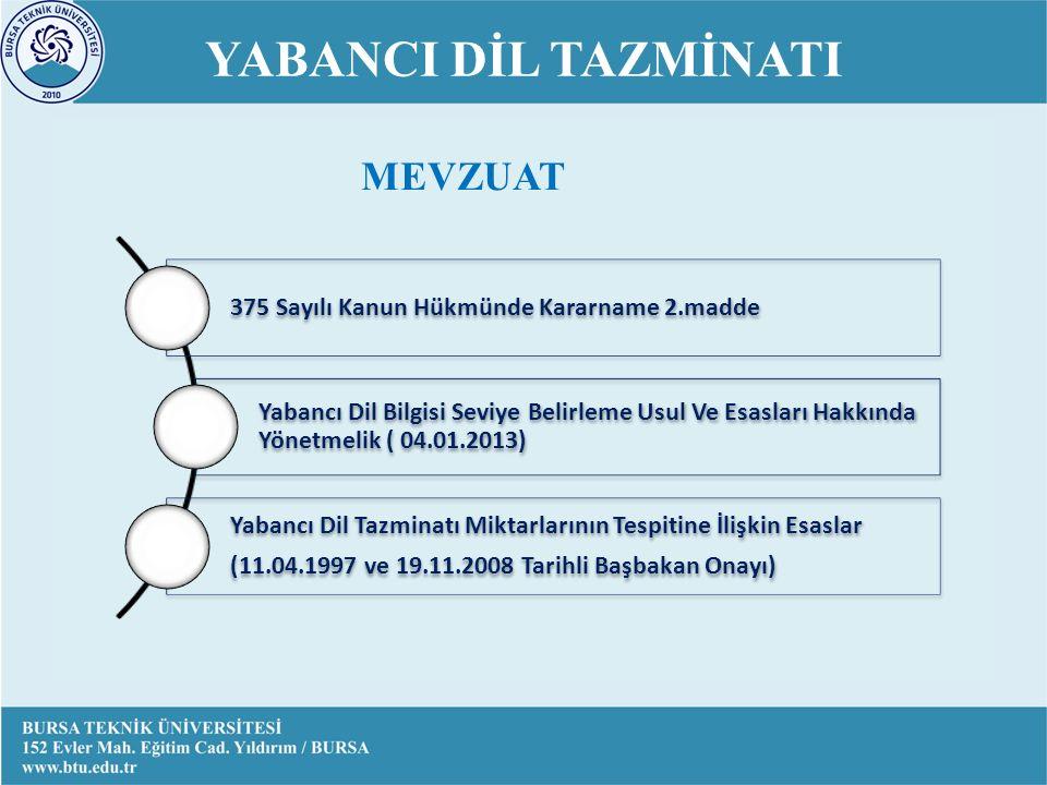 YABANCI DİL TAZMİNATI 375 Sayılı Kanun Hükmünde Kararname 2.madde Yabancı Dil Bilgisi Seviye Belirleme Usul Ve Esasları Hakkında Yönetmelik ( 04.01.2013) Yabancı Dil Tazminatı Miktarlarının Tespitine İlişkin Esaslar (11.04.1997 ve 19.11.2008 Tarihli Başbakan Onayı) MEVZUAT