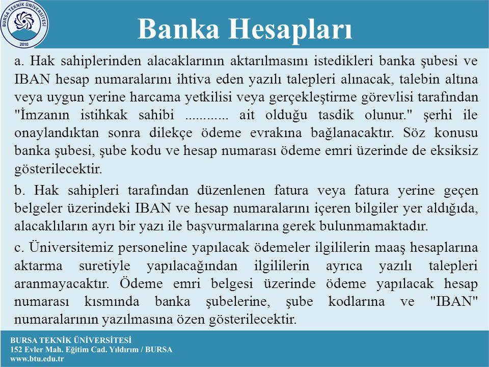 Banka Hesapları a.
