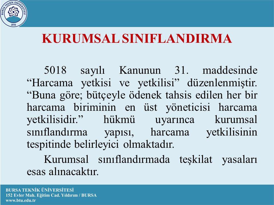 KURUMSAL SINIFLANDIRMA 5018 sayılı Kanunun 31.