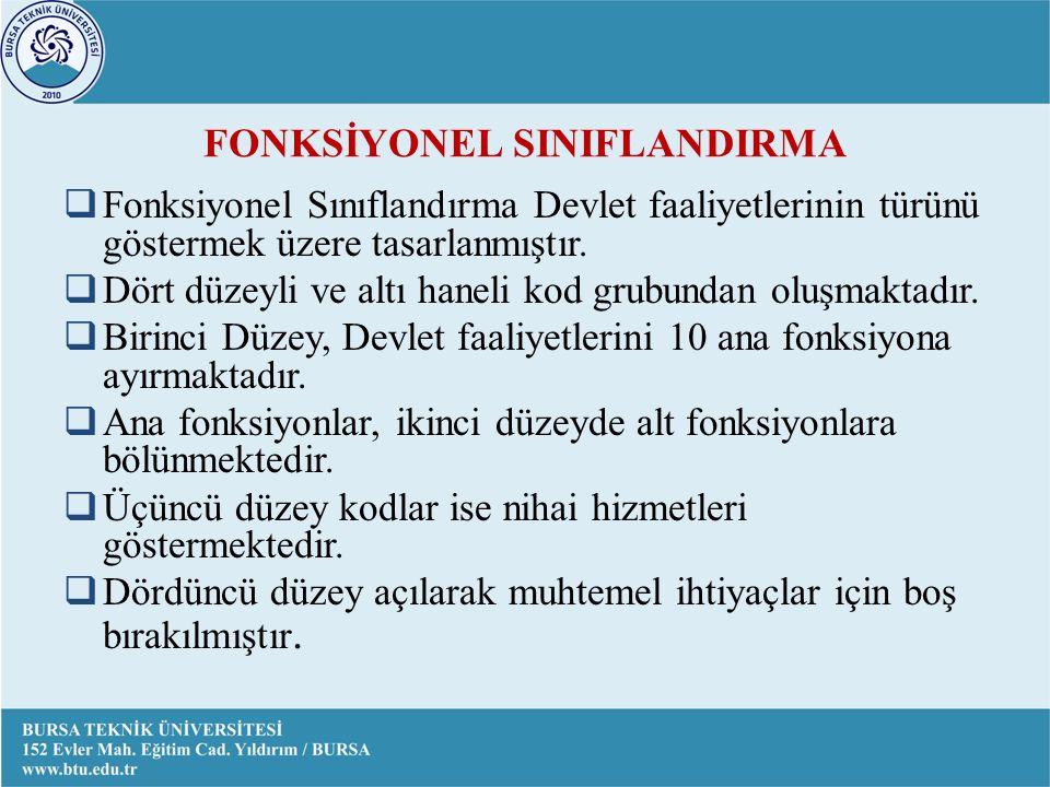 FONKSİYONEL SINIFLANDIRMA  Fonksiyonel Sınıflandırma Devlet faaliyetlerinin türünü göstermek üzere tasarlanmıştır.