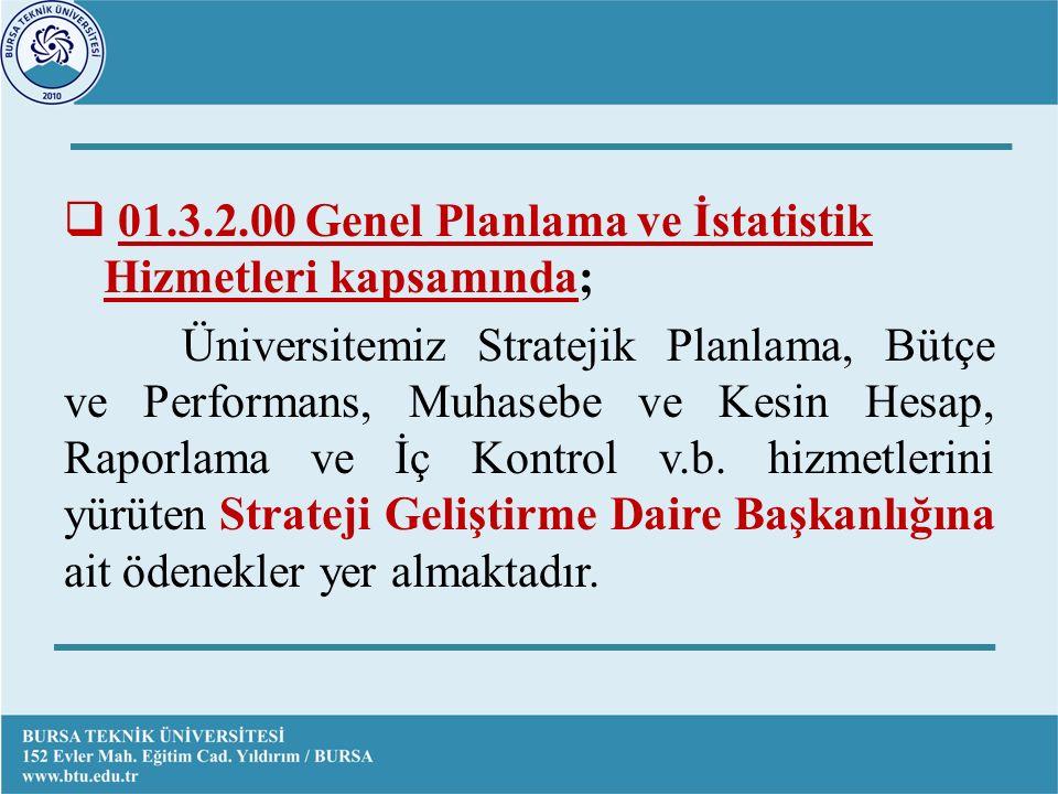  01.3.2.00 Genel Planlama ve İstatistik Hizmetleri kapsamında; Üniversitemiz Stratejik Planlama, Bütçe ve Performans, Muhasebe ve Kesin Hesap, Raporlama ve İç Kontrol v.b.