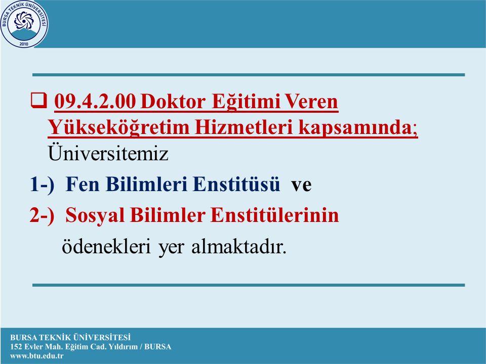  09.4.2.00 Doktor Eğitimi Veren Yükseköğretim Hizmetleri kapsamında; Üniversitemiz 1-) Fen Bilimleri Enstitüsü ve 2-) Sosyal Bilimler Enstitülerinin ödenekleri yer almaktadır.