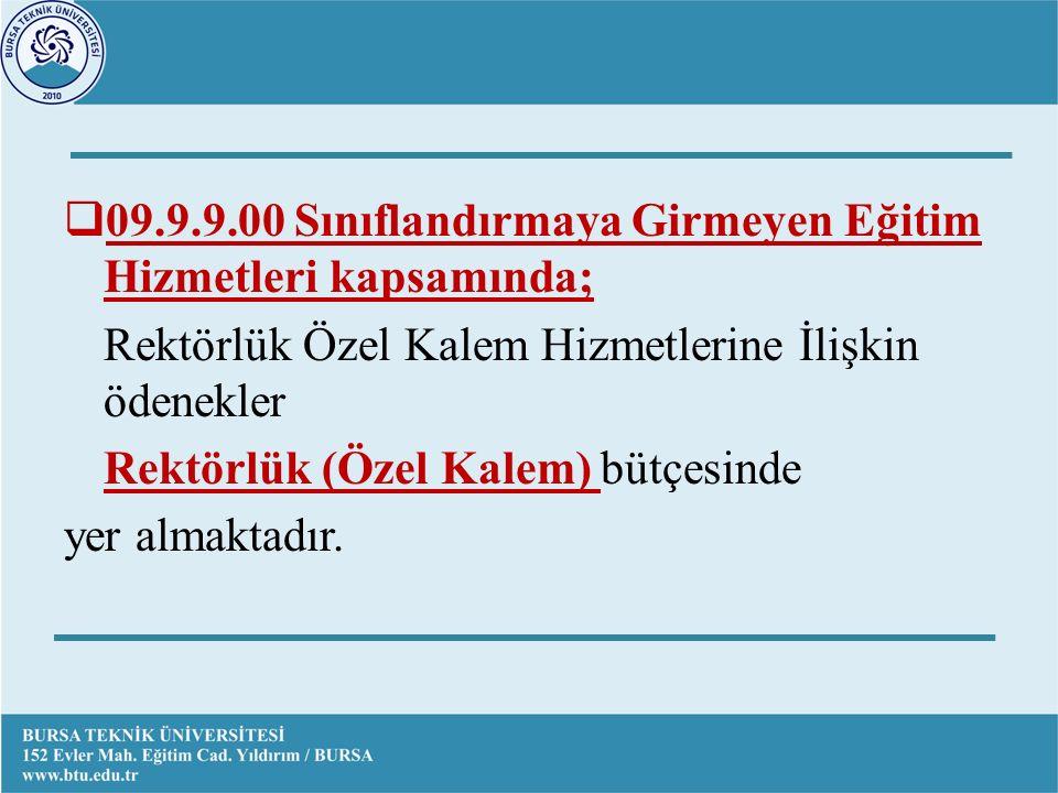  09.9.9.00 Sınıflandırmaya Girmeyen Eğitim Hizmetleri kapsamında; Rektörlük Özel Kalem Hizmetlerine İlişkin ödenekler Rektörlük (Özel Kalem) bütçesinde yer almaktadır.