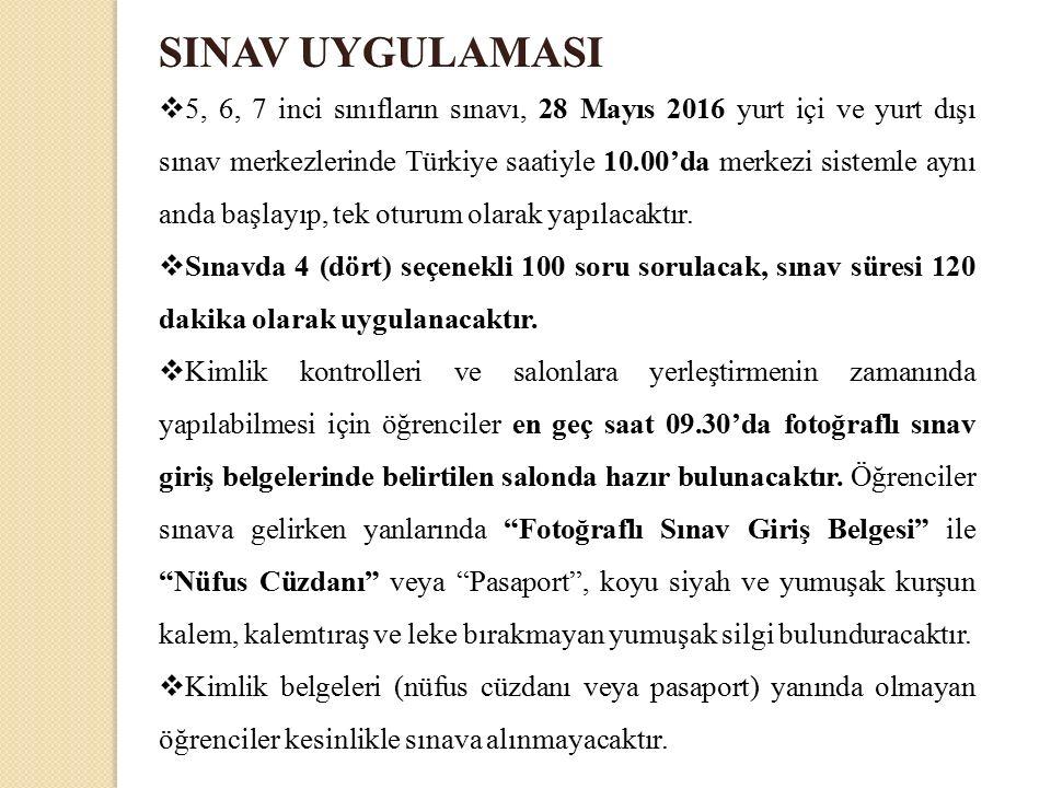  5, 6, 7 inci sınıfların sınavı, 28 Mayıs 2016 yurt içi ve yurt dışı sınav merkezlerinde Türkiye saatiyle 10.00'da merkezi sistemle aynı anda başlayıp, tek oturum olarak yapılacaktır.