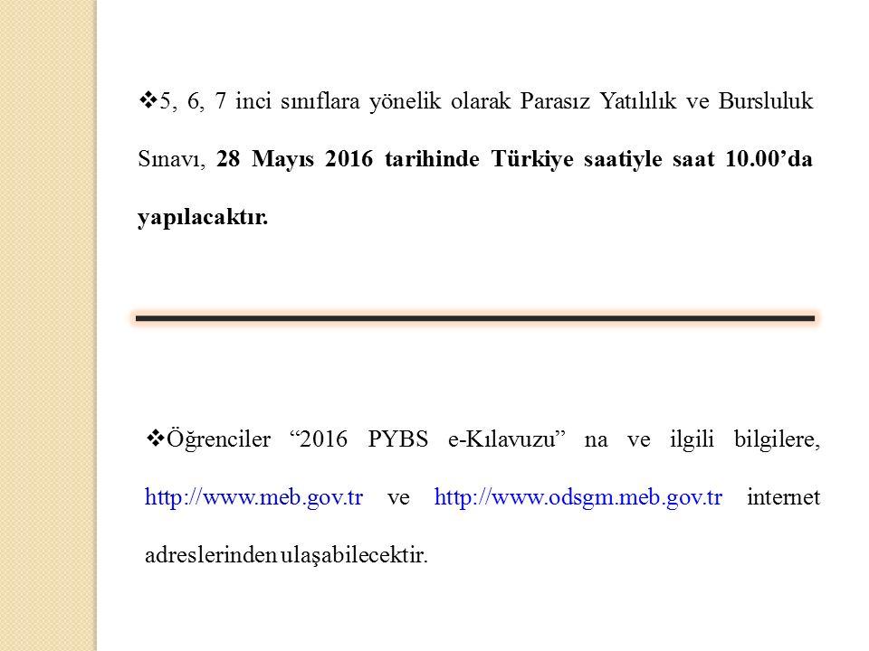 5, 6, 7 inci sınıflara yönelik olarak Parasız Yatılılık ve Bursluluk Sınavı, 28 Mayıs 2016 tarihinde Türkiye saatiyle saat 10.00'da yapılacaktır.