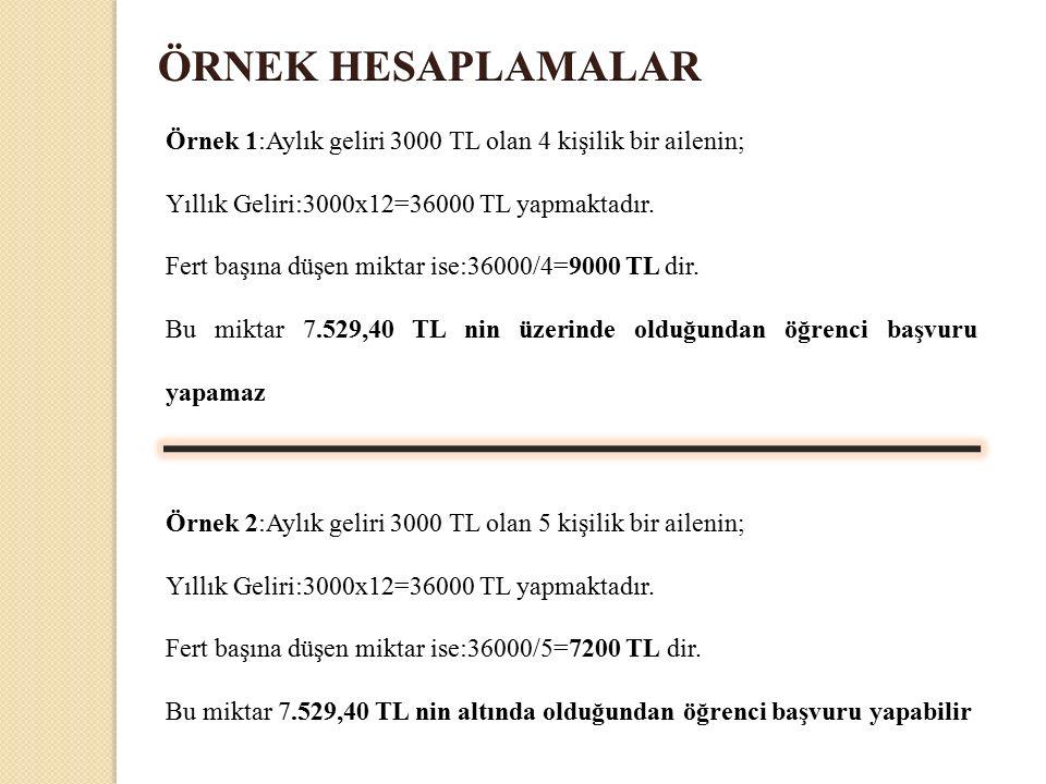 Örnek 1:Aylık geliri 3000 TL olan 4 kişilik bir ailenin; Yıllık Geliri:3000x12=36000 TL yapmaktadır.