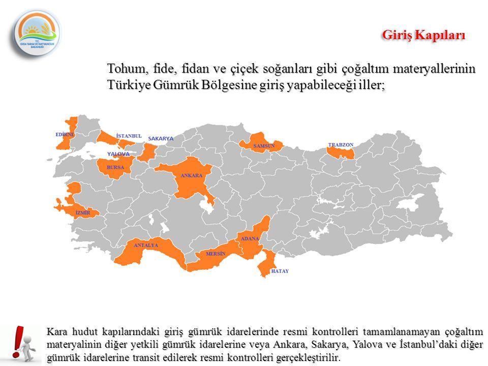 Tohum, fide, fidan ve çiçek soğanları gibi çoğaltım materyallerinin Türkiye Gümrük Bölgesine giriş yapabileceği iller; Kara hudut kapılarındaki giriş gümrük idarelerinde resmi kontrolleri tamamlanamayan çoğaltım materyalinin diğer yetkili gümrük idarelerine veya Ankara, Sakarya, Yalova ve İstanbul'daki diğer gümrük idarelerine transit edilerek resmi kontrolleri gerçekleştirilir Kara hudut kapılarındaki giriş gümrük idarelerinde resmi kontrolleri tamamlanamayan çoğaltım materyalinin diğer yetkili gümrük idarelerine veya Ankara, Sakarya, Yalova ve İstanbul'daki diğer gümrük idarelerine transit edilerek resmi kontrolleri gerçekleştirilir.