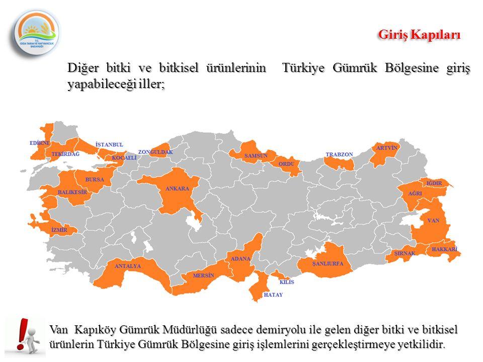 Van Kapıköy Gümrük Müdürlüğü sadece demiryolu ile gelen diğer bitki ve bitkisel ürünlerin Türkiye Gümrük Bölgesine giriş işlemlerini gerçekleştirmeye