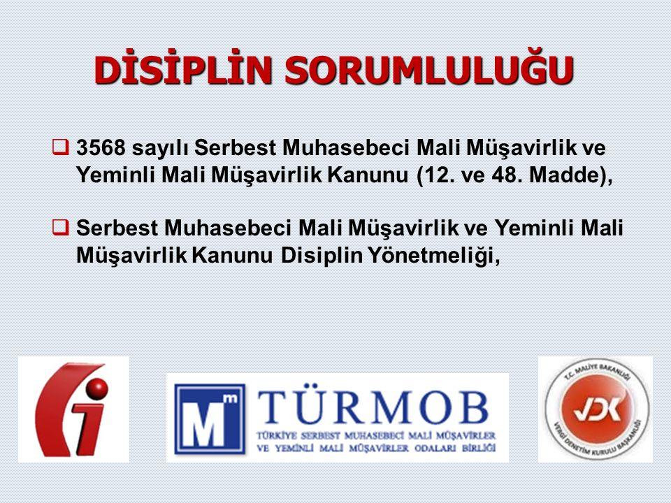   3568 sayılı Serbest Muhasebeci Mali Müşavirlik ve Yeminli Mali Müşavirlik Kanunu (12. ve 48. Madde),   Serbest Muhasebeci Mali Müşavirlik ve Yem