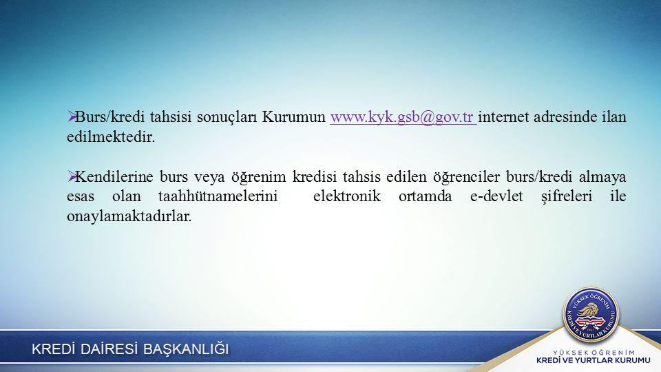 KREDİ DAİRESİ BAŞKANLIĞI  Burs/kredi tahsisi sonuçları Kurumun www.kyk.gsb@gov.tr internet adresinde ilan edilmektedir.