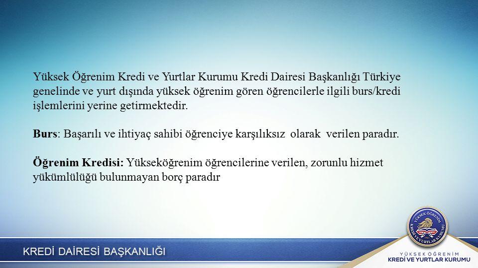 KREDİ DAİRESİ BAŞKANLIĞI Yüksek Öğrenim Kredi ve Yurtlar Kurumu Kredi Dairesi Başkanlığı Türkiye genelinde ve yurt dışında yüksek öğrenim gören öğrencilerle ilgili burs/kredi işlemlerini yerine getirmektedir.
