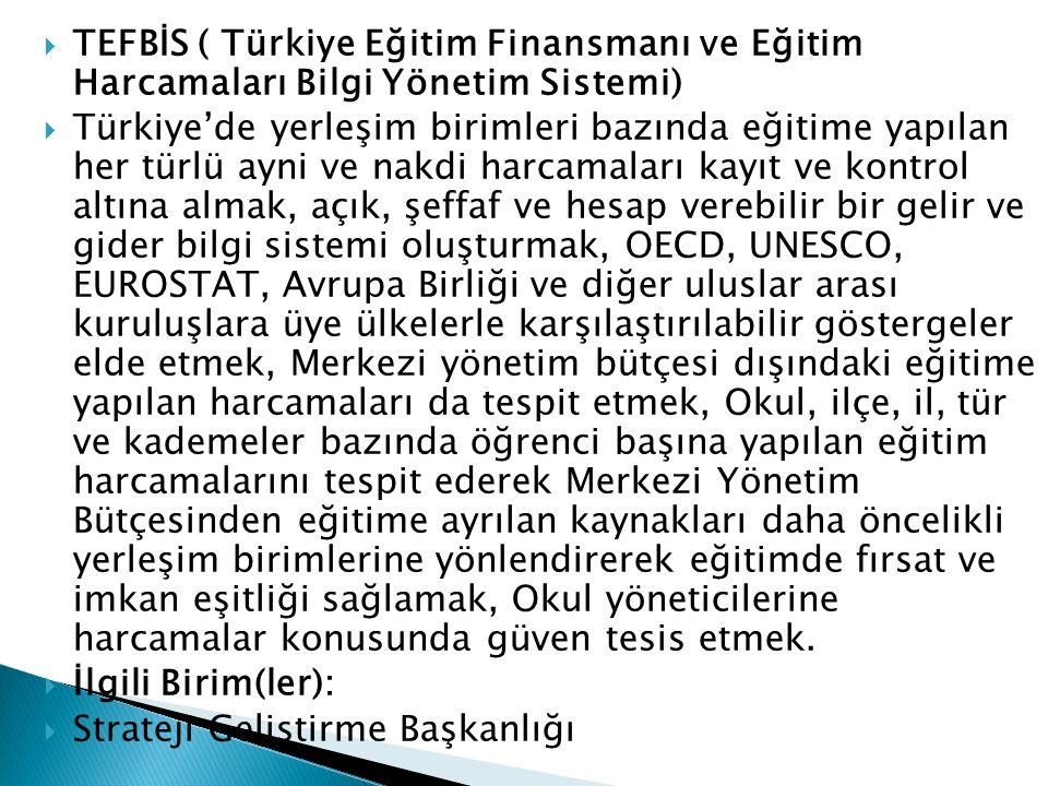  TEFBİS ( Türkiye Eğitim Finansmanı ve Eğitim Harcamaları Bilgi Yönetim Sistemi)  Türkiye'de yerleşim birimleri bazında eğitime yapılan her türlü ay