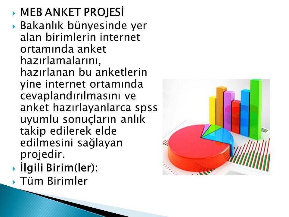 MEB ANKET PROJESİ  Bakanlık bünyesinde yer alan birimlerin internet ortamında anket hazırlamalarını, hazırlanan bu anketlerin yine internet ortamın