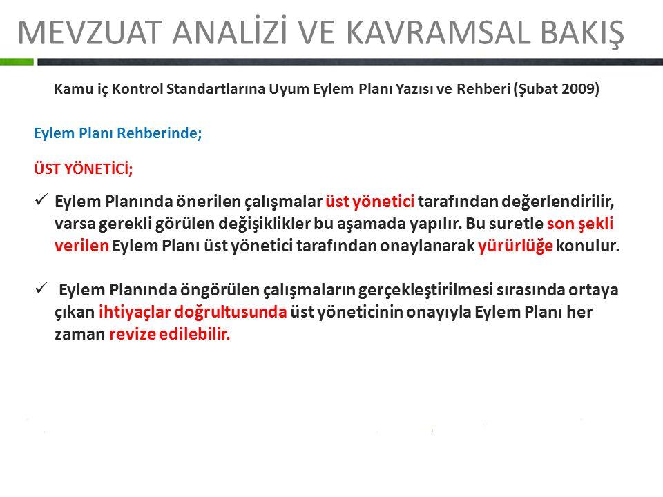 MEVZUAT ANALİZİ VE KAVRAMSAL BAKIŞ Kamu iç Kontrol Standartlarına Uyum Eylem Planı Yazısı ve Rehberi (Şubat 2009) Eylem Planı Rehberinde; ÜST YÖNETİCİ