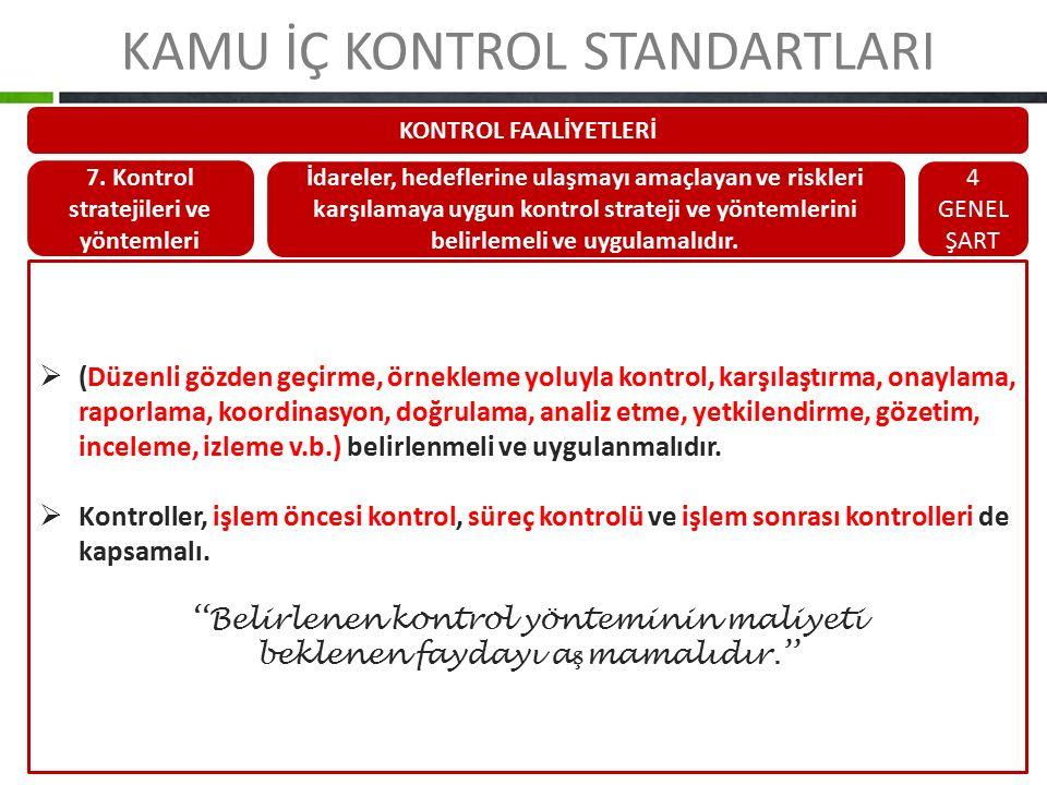 KAMU İÇ KONTROL STANDARTLARI KONTROL FAALİYETLERİ 7. Kontrol stratejileri ve yöntemleri İdareler, hedeflerine ulaşmayı amaçlayan ve riskleri karşılama