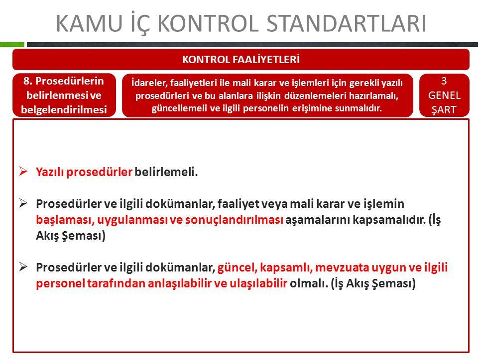 KAMU İÇ KONTROL STANDARTLARI KONTROL FAALİYETLERİ 8. Prosedürlerin belirlenmesi ve belgelendirilmesi İdareler, faaliyetleri ile mali karar ve işlemler